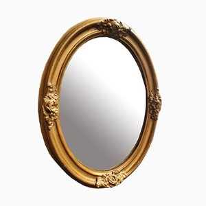 Antique Oval Gold Mirror, France, 1900s