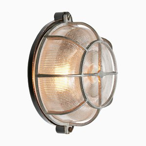 Industrielle Vintage Vintage Bakelit & Holophane Glas Wandlampe