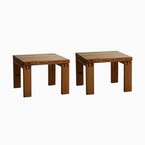 Danish Modern Brutalist Side Tables in Solid Pine from Nytibo, 1970s, Set of 2