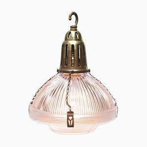 Lampe à Suspension Industrielle Vintage en Verre et Laiton de Holophane, France