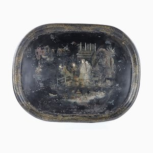 Chinese Tray in Hand-Painted Metal