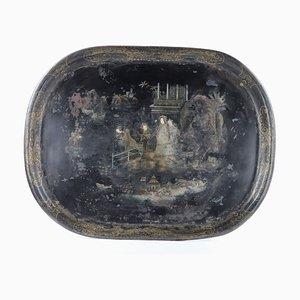Chinesisches Tablett aus handbemaltem Metall