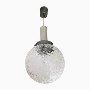 Vintage Crackle Glass Hanging Lamp, 1960s