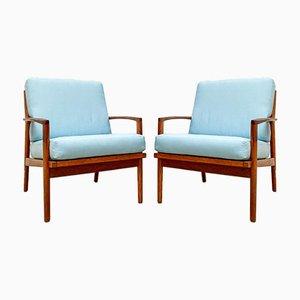 Danish Teak Easy Chairs, 1960s, Set of 2