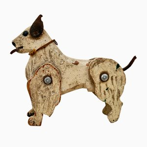 Early Antique Folk Art Wooden Jointed Dog