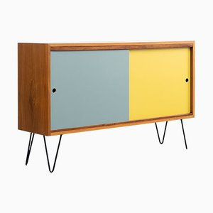 Walnut Sideboard with Colored Turning Doors & Hairpin Legs, 1960s