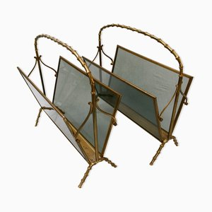 Faux Bamboo Magazine Racks in the style of Maison Baguès, Set of 2