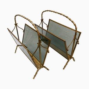 Porte-Revues en Faux Bambou Style Maison Baguès, Set de 2