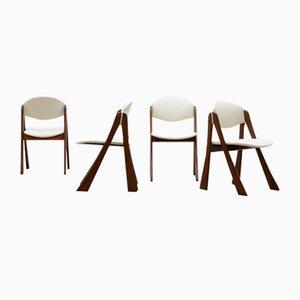 Organische Bouclé Esszimmerstühle, 4er Set