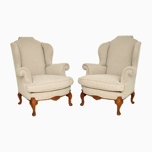Antique Carved Walnut Wingback Armchairs, Set of 2
