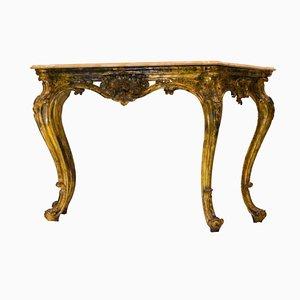 Vergoldete Louis XIV Konsole mit Marmorplatte