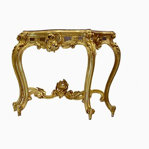 Vergoldete Louis Philippe Konsole mit Marmorplatte