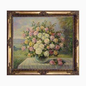 Composizione di rose in vaso di vetro by Giovanni Bonetti