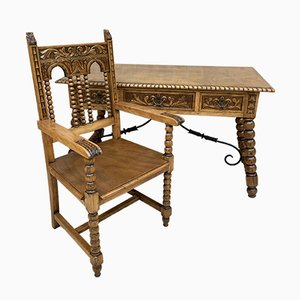 19th Century French Hand-Carved Oak Desk with Solomonic Legs and Armchair, Set of 2