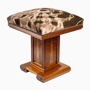 Art Deco Oak, Leather and Marquetry Stool by Jean-Paul Gaultier, 1930s