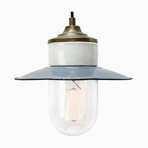 Vintage Industrial Blue Enamel, Brass, Porcelain & Clear Glass Pendant Light
