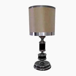 Vintage Table Lamp in Chrome & Black Oak Veneer with Fabric Shade, 1970s