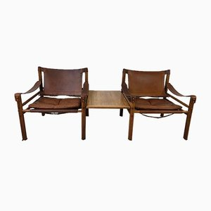 Brazilian Rosewood Sirocco Easy Chairs and Matching Suspended Side Table by Arne Norell, 1960s, Set of 3