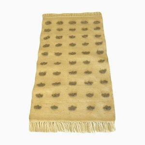 Minimalist Wool Kilim Rug with Pompom