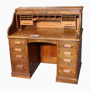 Medium Oak Stype Rolltop Desk & Key, 1900s