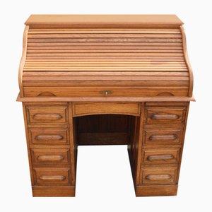 Goldener Eichenholz Schreibtisch, 1900er