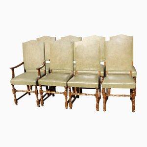 Esszimmerstühle aus heller Eiche mit grünen Ledersitzen, 1960er, 8er Set