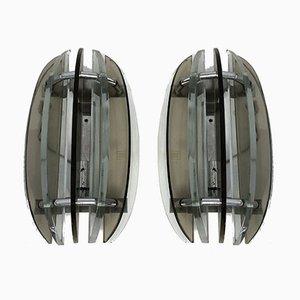 Italian Glass Sconces from Veca, 1960s, Set of 2