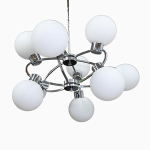 Space Age Sputnik Ceiling Lamp with 9 Opal Glass Globes, Germany, 1970s