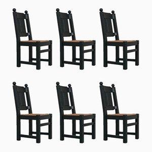 Niederländische Mid-Century Esszimmerstühle aus Binse & Schwarz, 6er Set