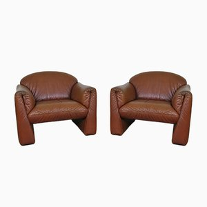Octanova Leather Armchairs by Peter Maly for Cor, Germany, 1980s, Set of 2