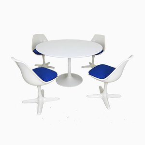 White Tulip Dining Table & Model 115 Swivel Chairs by Maurice Burke for Arkana, England, 1960s, Set of 5