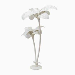 Weiße Palmen Stehlampe, 1970er