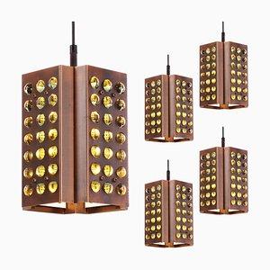 Lampe à Suspension Mid-Century en Cuivre avec 84 Sphères en Verre de Raak Amsterdam, 1960s