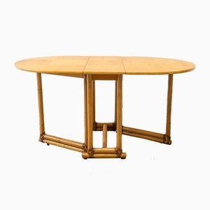 Mid-Century Winged Table with Legs in Bamboo