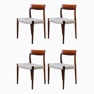 Modell 77 Esszimmerstühle aus Palisander von Niels O Moller, 4er Set