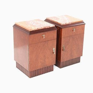French Art Deco Walnut Nightstands or Bedside Tables, 1930s, Set of 2