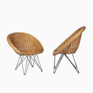 Wicker Armchairs, 1950s, Set of 2