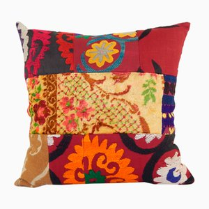 Red Suzani and Ikat Cushion Cover