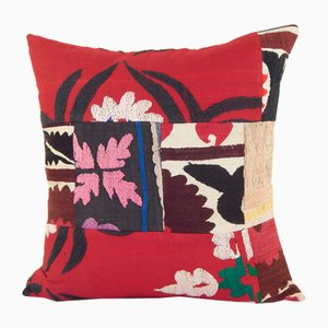 Red Suzani Patchwork Cushion Cover