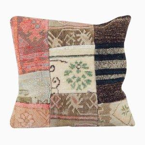 Large Vintage Turkish Handmade Patchwork Cushion
