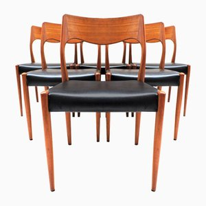 Vintage Chairs in Teak and Faux Leather by Niels O. Møller for J. L. Møllers, Set of 6