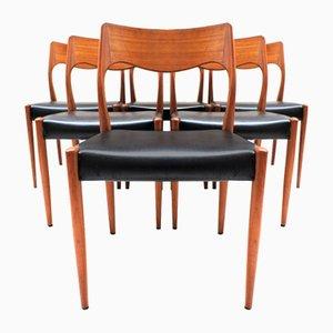 Vintage Stühle aus Teak und Kunstleder von Niels O. Møller für JL Møllers, 6er Set