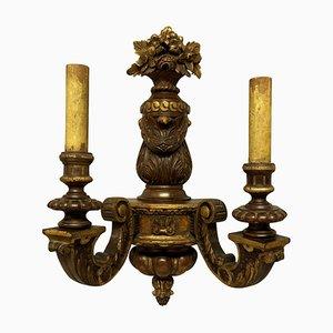 George I Wandlampe aus Nussholz & vergoldetem Holz