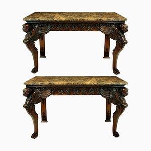 Consolas de mármol y madera, años 20. Juego de 2