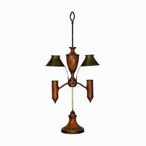 Lampe de Bureau Napoléon III Antique en Tole Orange