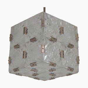 Quadratische Mid-Century Hängelampe aus Klarglas von Kamenicky Senov, 1960er