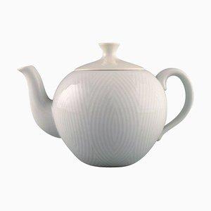 Large White Teapot by Axel Salto for Royal Copenhagen, 1960s