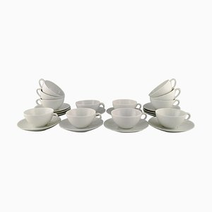 White Teacups with Saucers by Axel Salto for Royal Copenhagen, 1960s, Set of 24