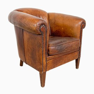 Vintage Puffy Sheep Leather Club Chair