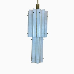 Large Space Age Murano Ice Glass Chandelier Pendant Lamp from Limburg